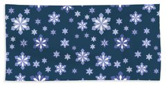 Blue And White Snowflake Pattern Beach Towel