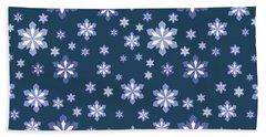 Blue And White Snowflake Pattern Beach Sheet