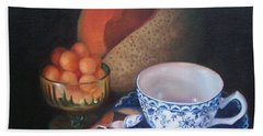 Blue And White Teacup And Melon Beach Sheet