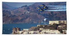 Blue Angels Over Alcatraz Beach Sheet