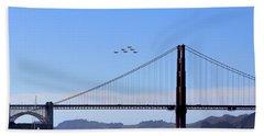 Blue Angels Over Golden Gate Bridge Beach Sheet