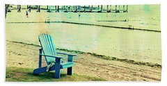 Beach Towel featuring the photograph Blue Beach Chair by Susan Stone