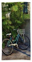 Blue Bike-  By Linda Woods Beach Towel