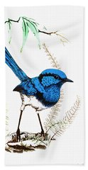Beach Towel featuring the photograph Blue Bird 001 by Kevin Chippindall