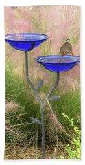 Blue Bird Bath Beach Towel by Rosalie Scanlon