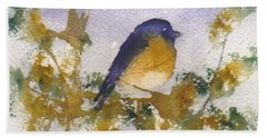 Blue Bird In Waiting Beach Towel