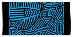 Beach Towel featuring the digital art Blue Bird Mola by Vagabond Folk Art - Virginia Vivier