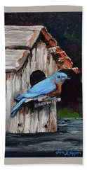 Beach Towel featuring the painting Blue Bird On Lake Odom by Jan Dappen