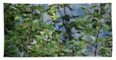 Beach Towel featuring the photograph Blue Bird On Silk by Gary Smith
