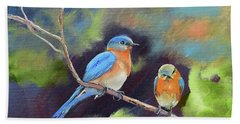 Beach Sheet featuring the painting Blue Birds - Soul Mates by Jan Dappen