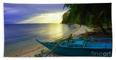Blue Boat And Sunset On Beach Beach Towel