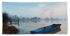 Beach Towel featuring the photograph Blue Boat by Davor Zerjav