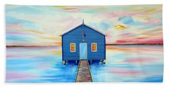 Blue Boat Shed By The Swan River Perth Beach Towel