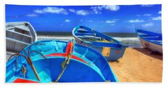 Blue Boats Beach Towel