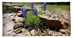 Blue Bonnets On The Rocks Beach Towel