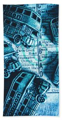 Blue Britain Bus Bill Beach Towel