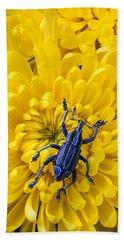 Blue Bug On Yellow Mum Beach Towel
