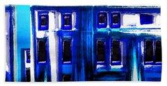 Blue Buildings Beach Towel