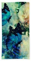 Blue Butterfies Beach Sheet by Maria Urso