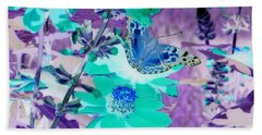 Blue Butterfly And Teal Flowers Beach Sheet