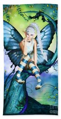 Blue Butterfly Fairy In A Tree Beach Towel