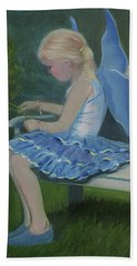 Blue Butterfly Girl Beach Sheet