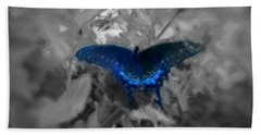 Blue Butterfly In Charcoal And Vibrant Aqua Paint Beach Sheet