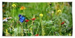 Beach Towel featuring the photograph Blue Butterfly In Meadow by John  Kolenberg