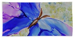 Beach Towel featuring the painting Blue Butterfly by Joanne Smoley