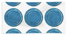 Blue Can Lid Times Nine Beach Towel