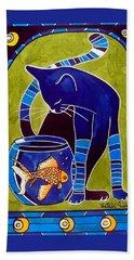 Blue Cat With Goldfish Beach Sheet