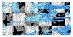 Blue Checker Skull Splatter Beach Towel by Roseanne Jones