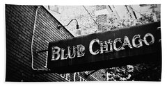 Beach Towel featuring the photograph Blue Chicago Nightclub by Kyle Hanson