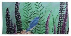 Blue Chickadee Standing On A Rock 1 Beach Sheet