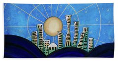 Blue City  Beach Towel