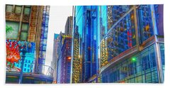 Blue Cityscape Beach Towel