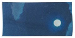 Blue Cloudy Moon Beach Towel
