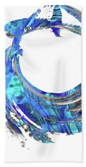Blue Contemporary Art - Swirling 2 - Sharon Cummings Beach Towel