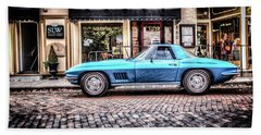 Blue Corvette Beach Towel by Wade Brooks