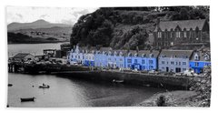 Blue Cottages At Portree Harbour 5 Beach Towel