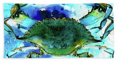Blue Crab - Abstract Seafood Painting Beach Towel by Sharon Cummings