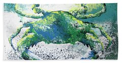 Blue Crab Abstract Beach Towel