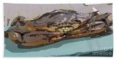 Blue Crab Cartoon Beach Sheet