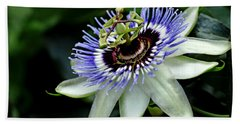 Blue Crown Passion Flower Beach Towel