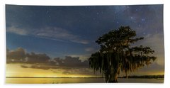Blue Cypress Lake Nightsky Beach Towel