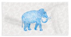 Blue Damask Elephant Beach Towel by Antique Images