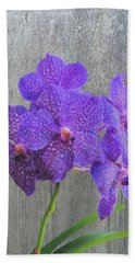 Purple Dendrobium Orchids Beach Sheet by Rosalie Scanlon