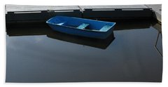Blue Dinghy Quiet Waters Beach Towel