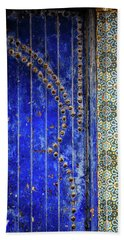 Blue Door In Marrakech Beach Sheet by Marion McCristall