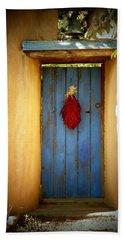 Blue Door With Chiles Beach Towel by Joseph Frank Baraba